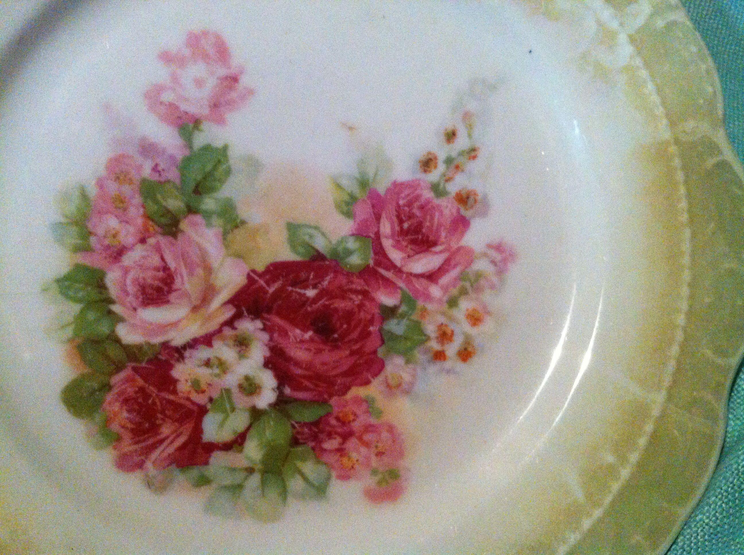 Transferware flowers on a saucer.