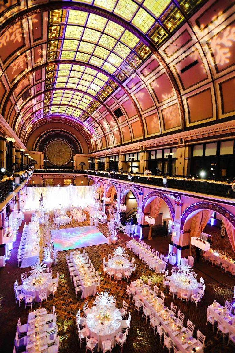 Glitter Dancefloor Winter Wonderland Wedding Snow White Union Station Indianapolis Crowne Plaza Hotel Indiana