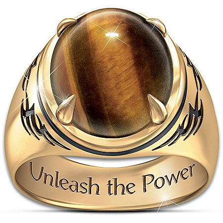 """Tigers Eye"" Mens Ring With Engraved Statement"