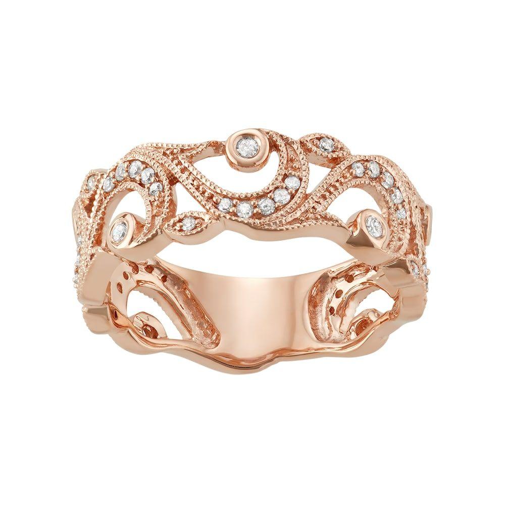 10k Rose Gold 1 4 Carat T W Diamond Filigree Ring Women S Size 9 White Gold Wedding Band Rose Gold Wedding Bands Diamond Wedding Bands