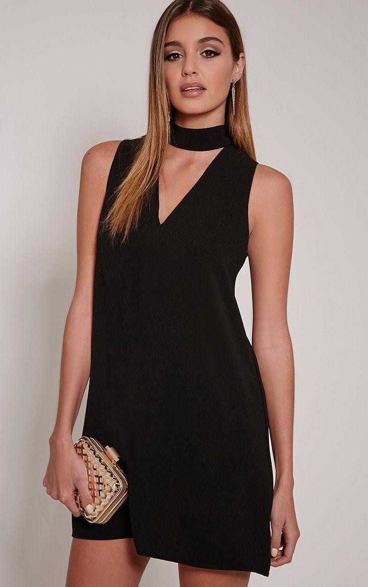 55e99fd15fd0 Cinder Black Choker Detail Loose Fit Dress Image 1