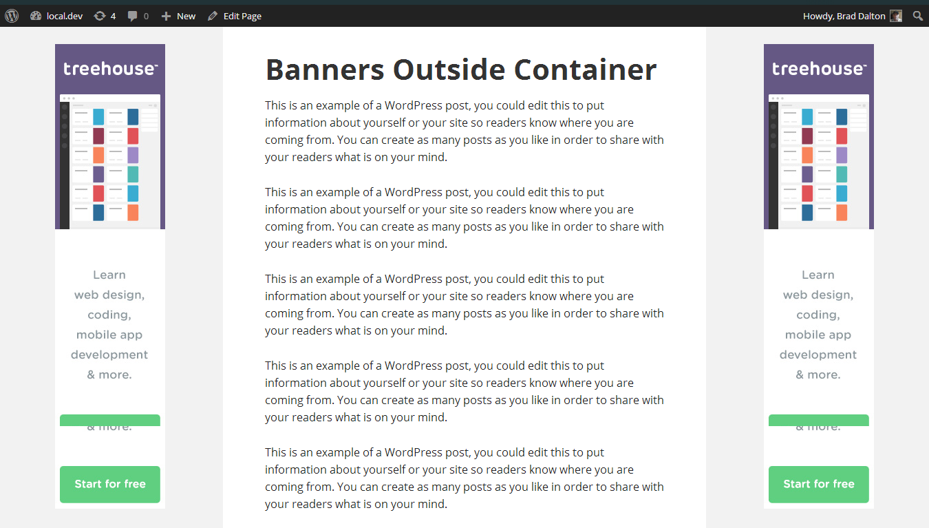 3 Ways To Add Banner Ads Outside Site Container Banner Ads Banner Web Design