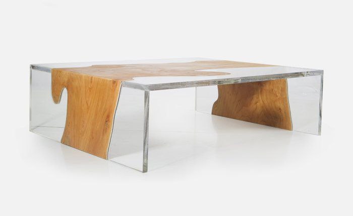 Side View Of Modern Table With Unique Combination Of Wood And Acrylic