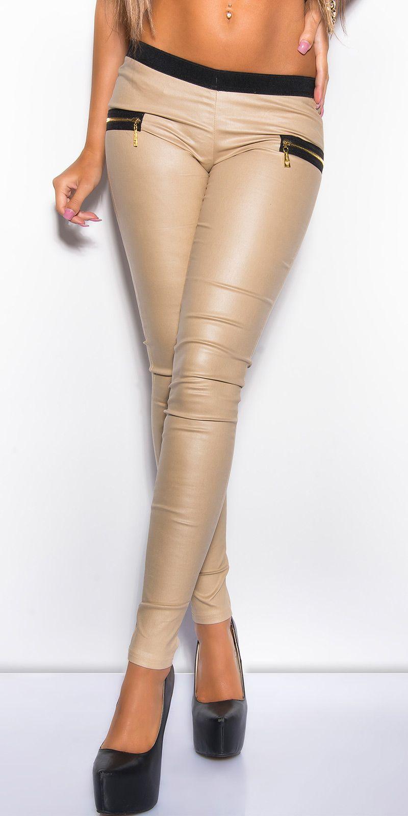 tregging beige avec poches zip noir