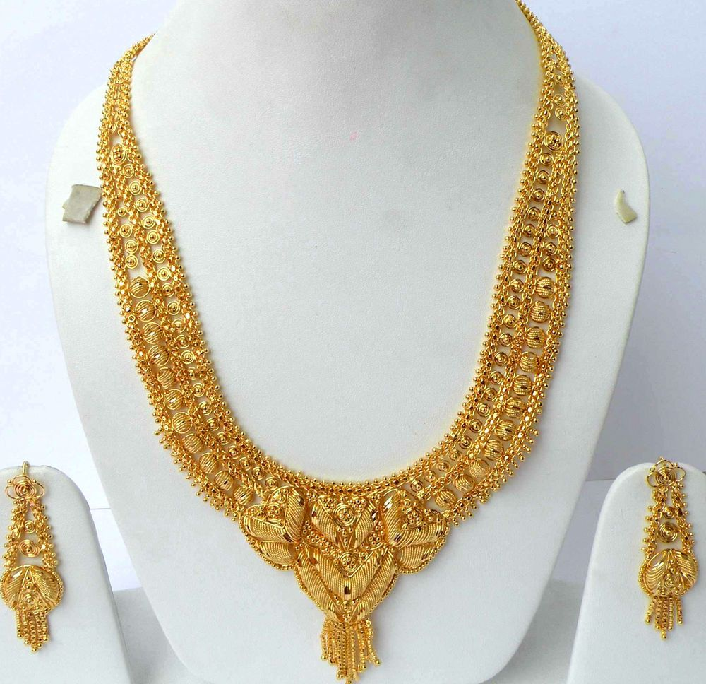 Gold rani haar pictures to pin on pinterest - Jewelry Bridal Gold Plated Ranihaar Necklace Earring Set Unbranded