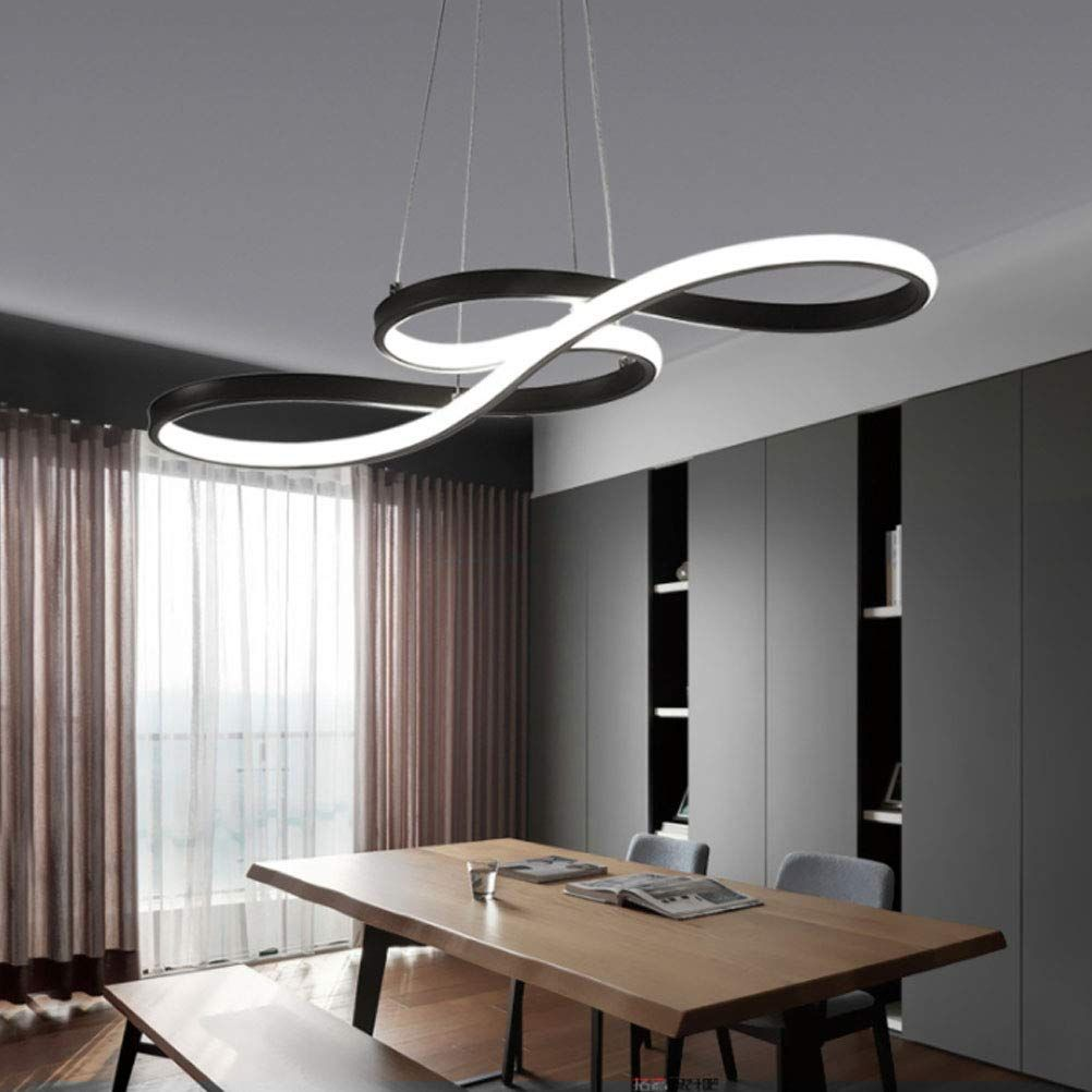Modern LED Acrylic Chandelier Dining Room Dimmable 3000K~6500K Remote Control Pendant Lights ColorBrightness Adjustable Half Flush Mount Ceiling