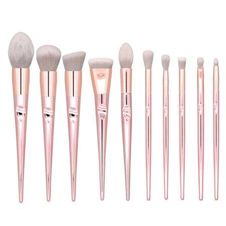 AUTCARIBLE 10 PCS Premium Synthetic Make up Brushes Rose Gold Powder Brush Set Beauty Tools