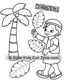 Palm Sunday colorinig page for kids showing a child waving palm ...