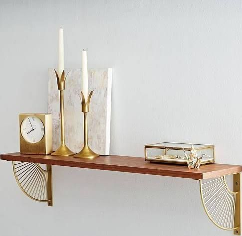gold and mirror floating shelves Wood shelf brackets