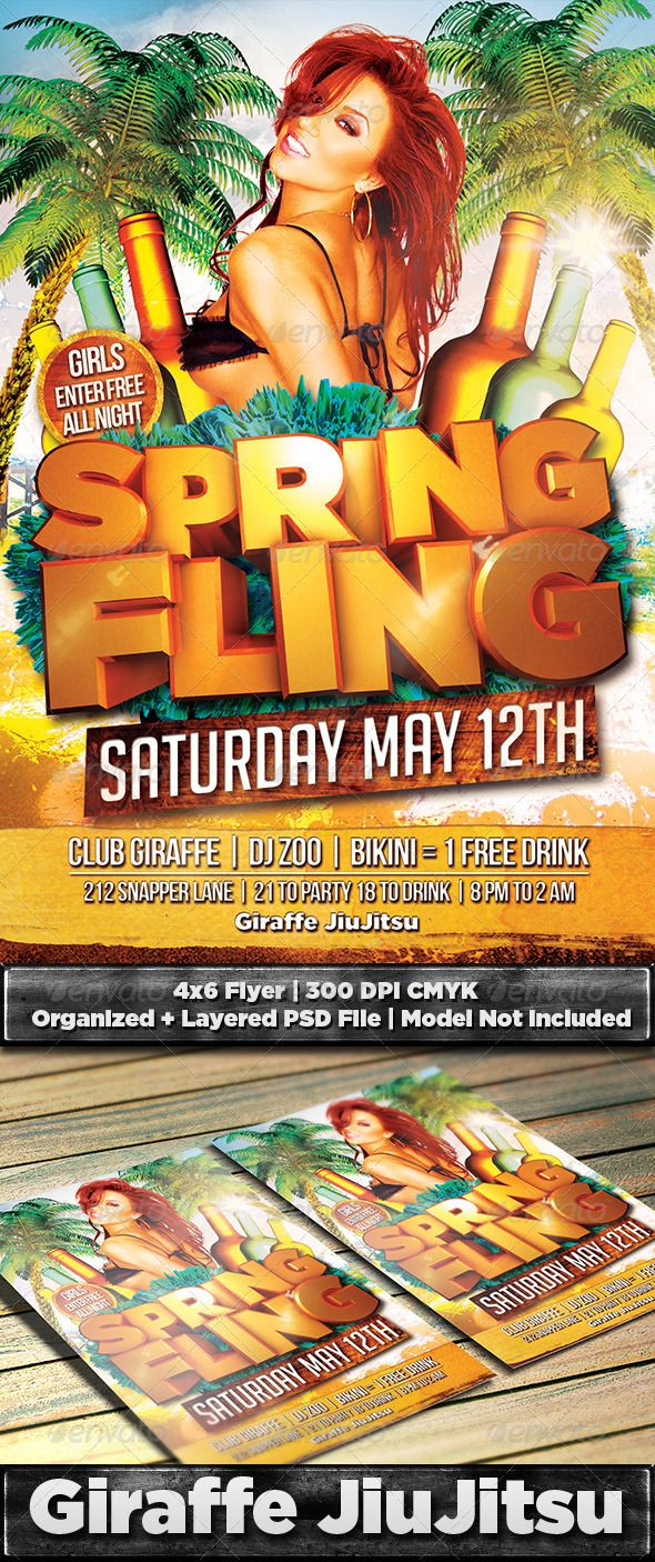 Spring Fling Flyer Template Psd  Flyer Template Party Flyer And