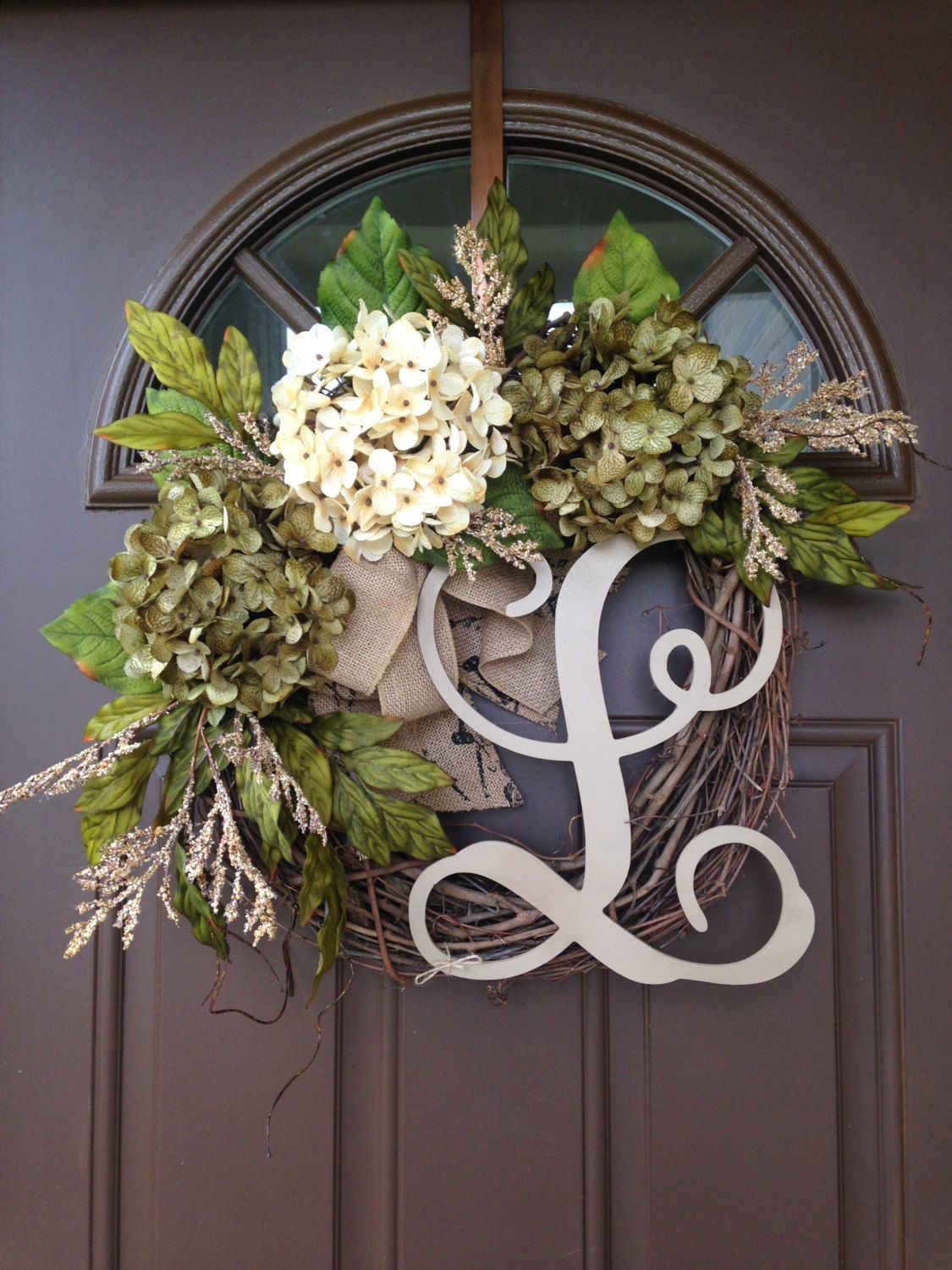 Year Round Hydrangea Wreath For Front Door   Monogrammed Wreath   Grapevine  Wreath With Initial   Front Door Wreath   Monogram Wreath   Gift