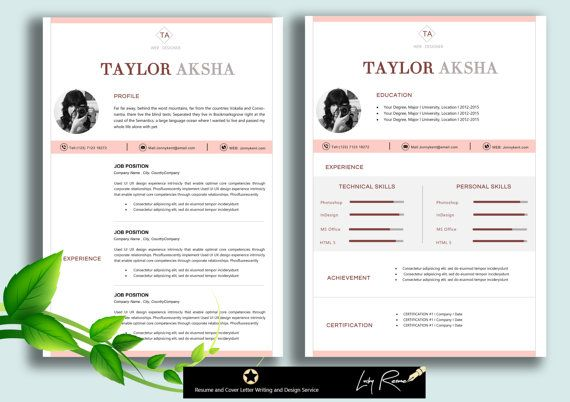 Resume template   Resume Design  Professional CV + Cover Letter - cv document