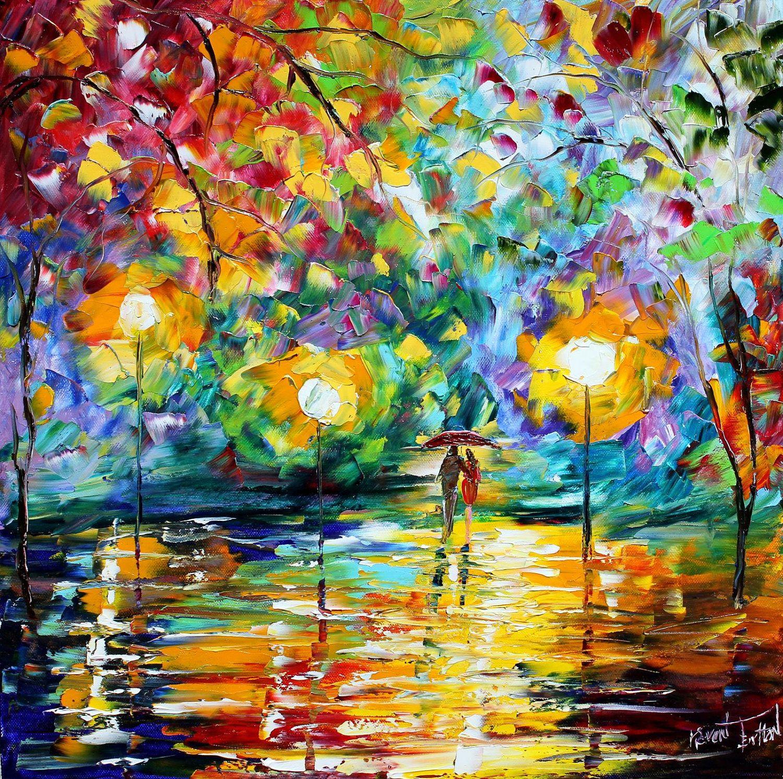 original oil painting night romance
