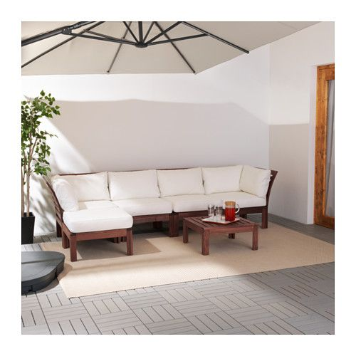 ÄPPLARÖ / KUNGSÖ 4-seat sofa with footstool, outdoor, brown stained - wohnzimmer weis beige braun