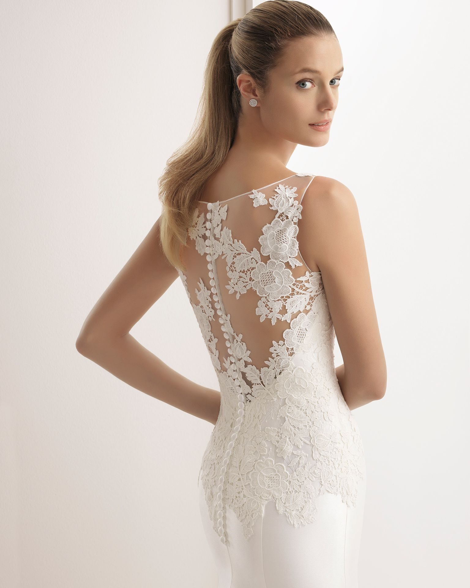 Classic-style mikado and guipure lace wedding dress with V-neckline ...