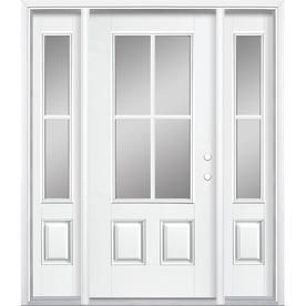 Masonite 3 4 Lite Simulated Divided Light Left Hand Inswing Arctic White Painted Fiberglass Pre Hung Entry Door Entry Door With Sidelights Entry Doors Masonite