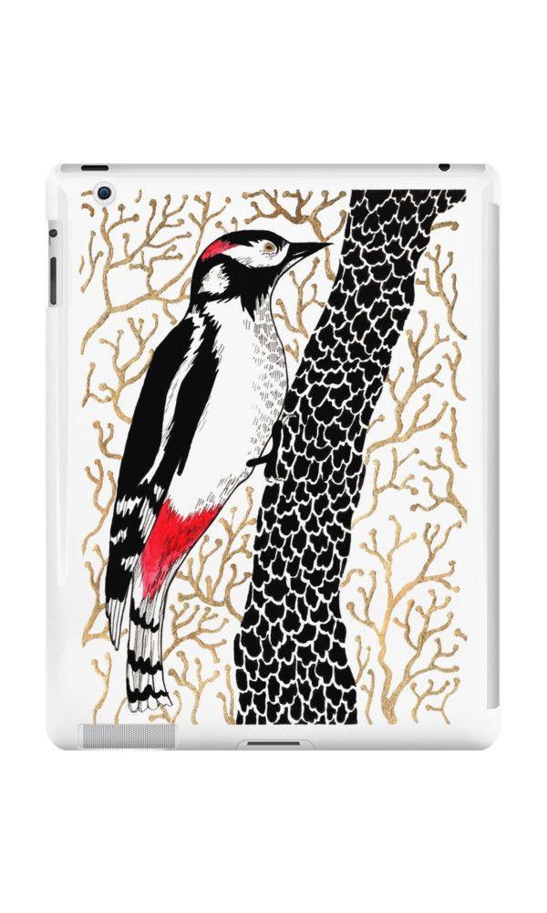 """Woodpecker, forest bird, watercolor & ink sketch"" iPad Cases & Skins by ptitsa-tsatsa | Redbubble"