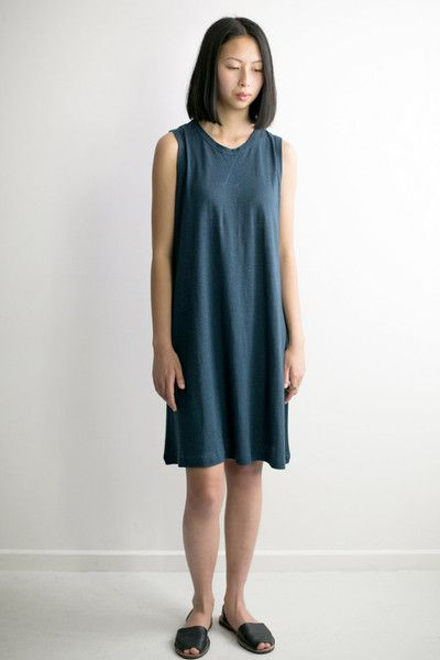 Hemp Jersey A Line Dress by B Goods label. Handmade in small quantities in Adelaide, South Australia. Simple tank style dress with a-line skirt, made from soft