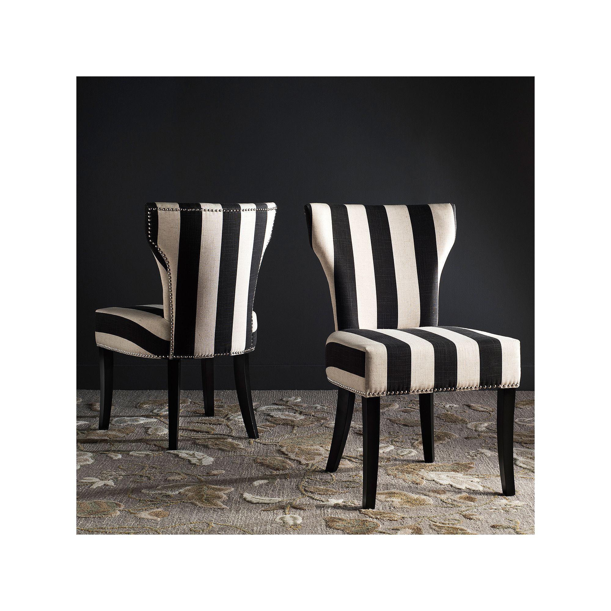 Best Safavieh Striped Accent Chair 2 Piece Set Black Striped 400 x 300