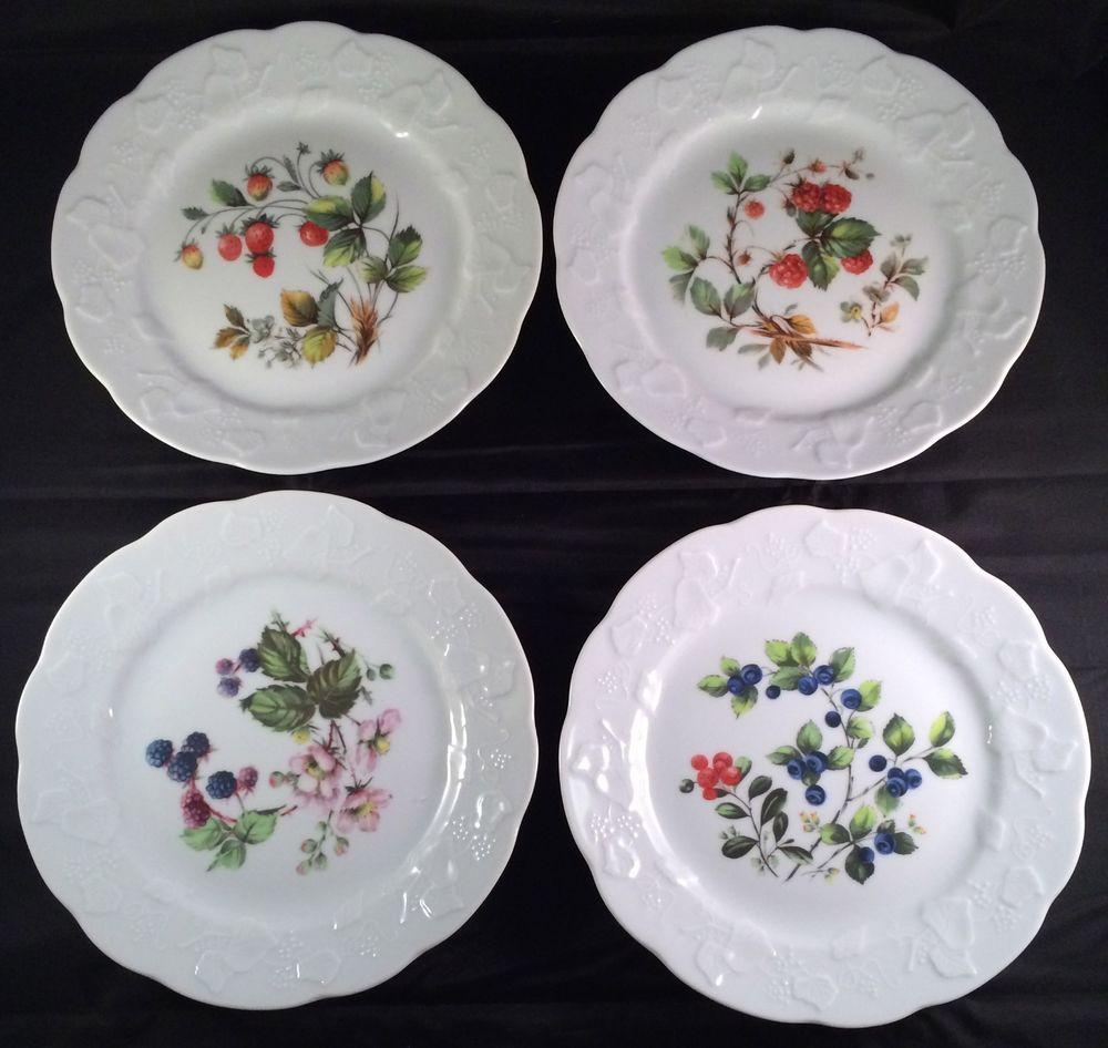 4 Lierre Lauvage France Dansk Salad Dessert Plates Flowers Berries Embossed Ivy #LierreLauvageDansk & 4 Lierre Lauvage France Dansk Salad Dessert Plates Flowers Berries ...