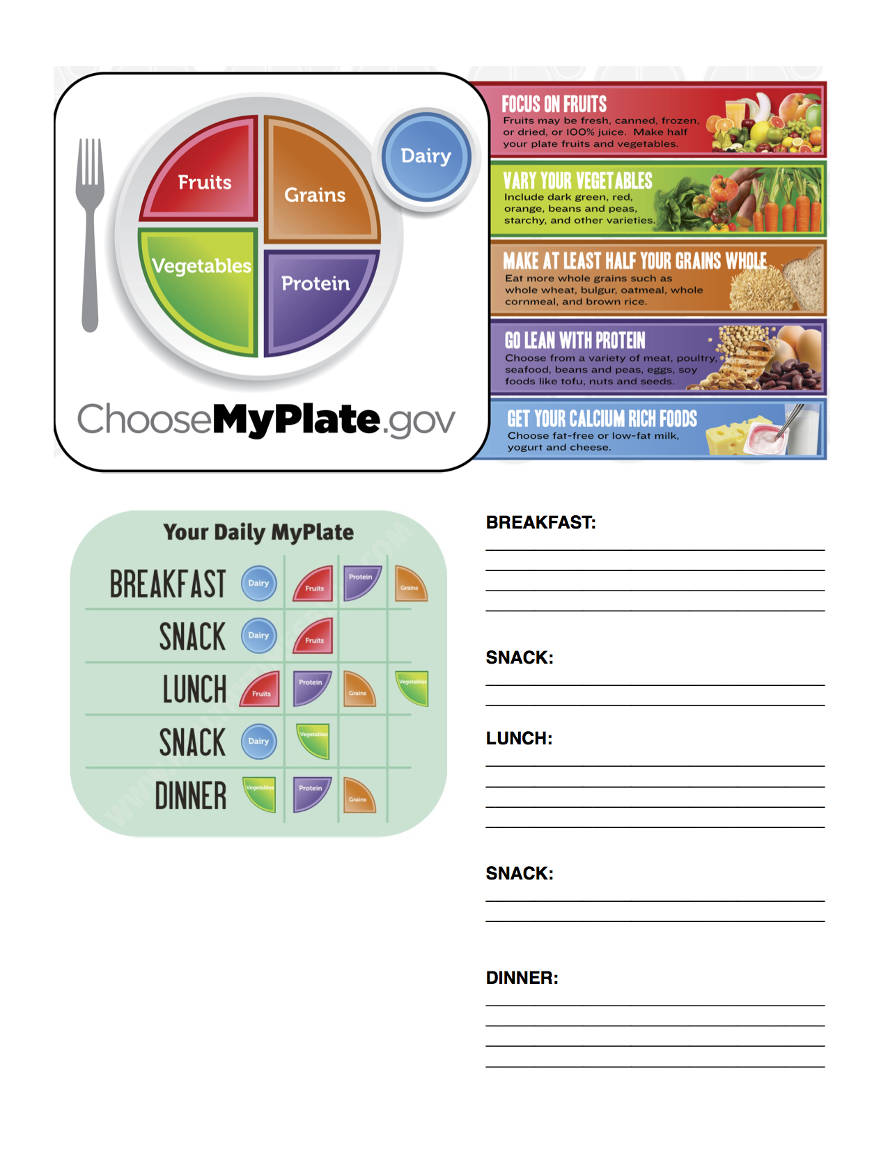 Myplate Daily Worksheet
