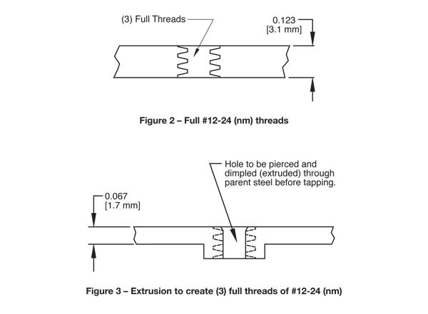 Image Result For How To Dimension An Extruded Thread In Sheet Metal Sheet Metal Extrusion Thread