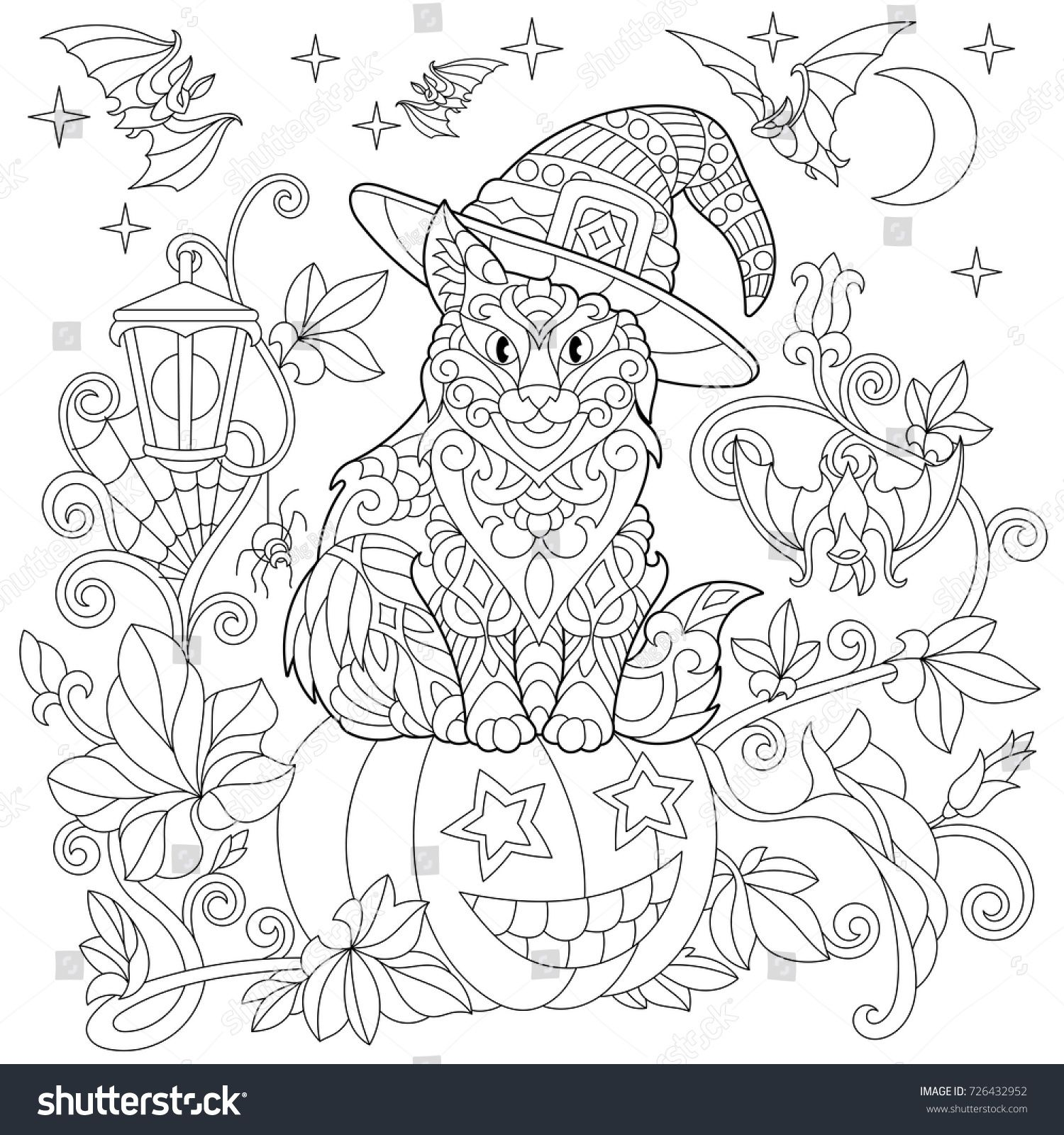 Halloween Coloring Page Cat In A Hat Halloween Pumpkin Flying Bats Spider Web Hanging Lanter Halloween Coloring Pages Halloween Coloring Cat Coloring Page