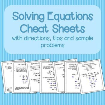 Solving Equations Cheat Sheets/Reference Sheets Sample Problems and ...