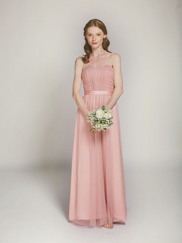 pretty tulle dusty rose long bridesmaid dress swbd019 | Salud ...