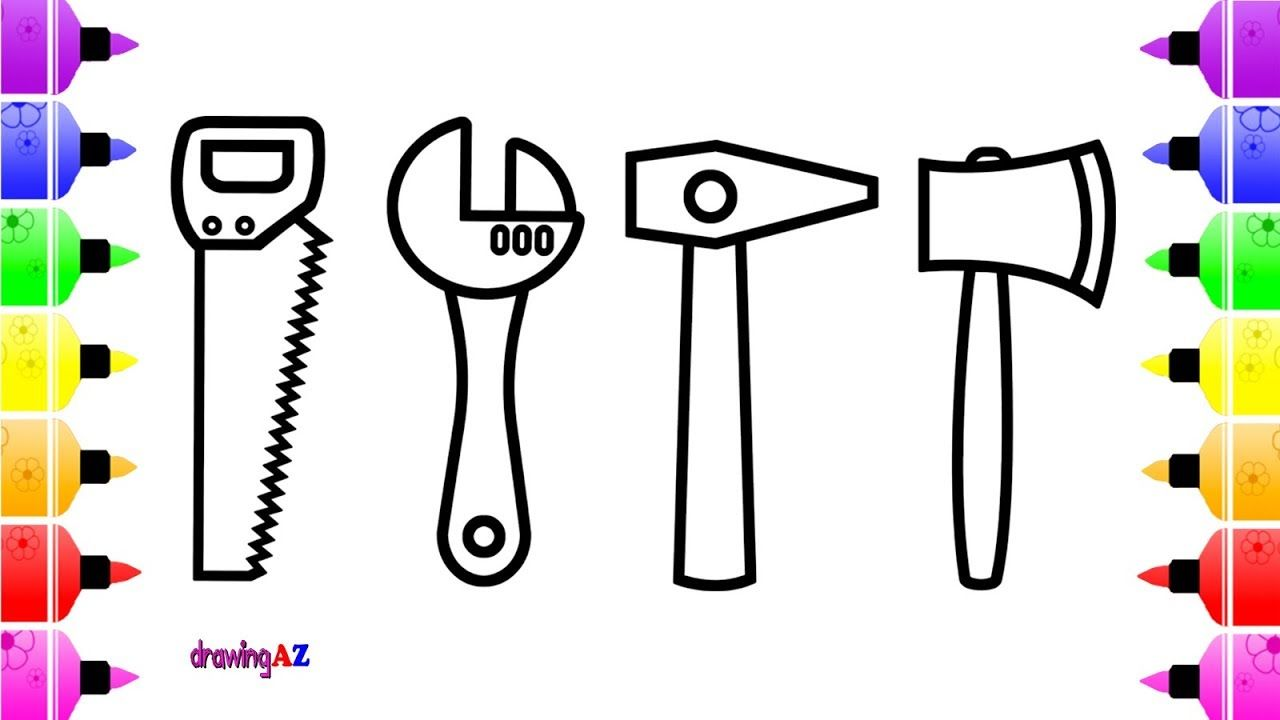 How To Draw Hammer Saw Wrench Ax For Kids Coloring Page For Kids