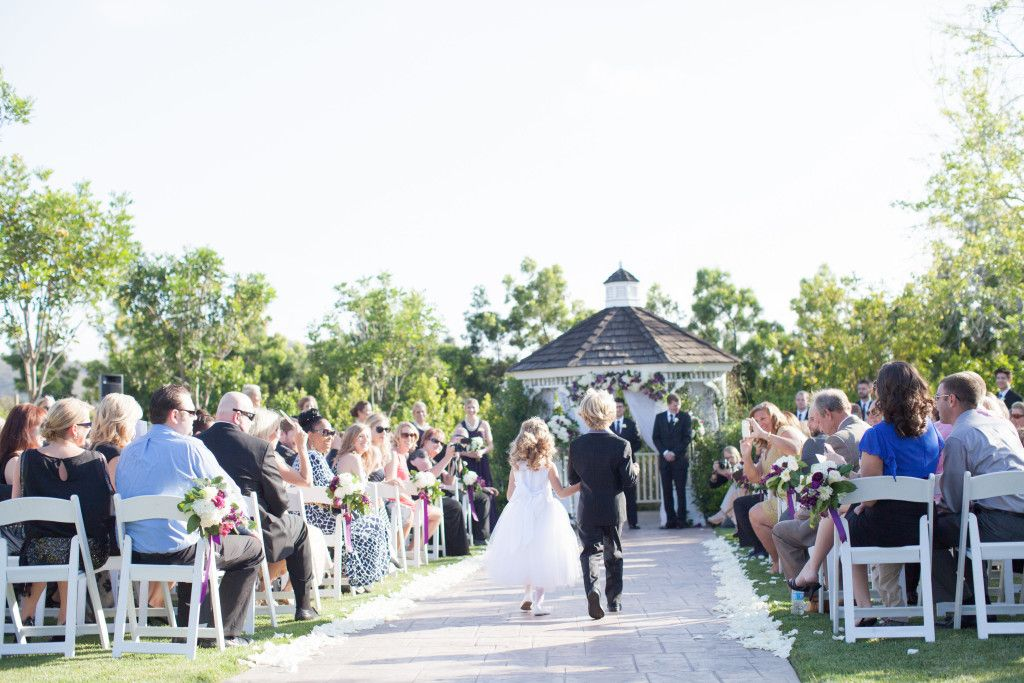 Purple, green, white and silver wedding at Carmel Mountain Ranch Country Club in San Diego, California. #Ringbearer #flower girl #ceremony #clubcmr