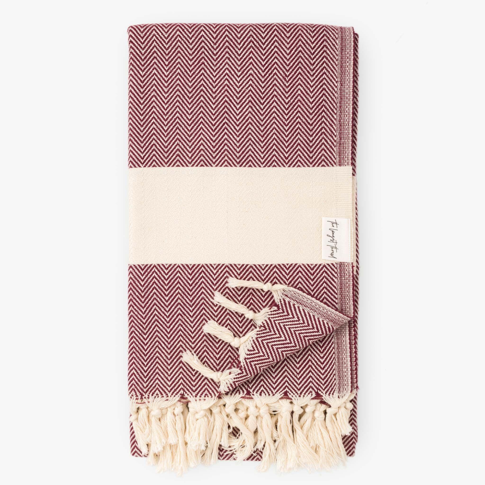 Herringbone Burgundy Turkish Towel Turkish Towels Towel Burgundy