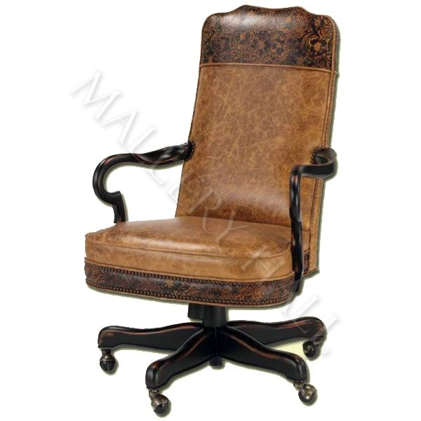 Custom Made Leather Office Chair With Wood Arms And Legs Wheels Featuring Intricate