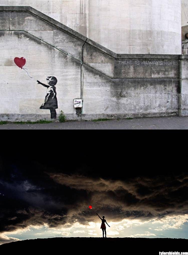 Top image: graffiti artwork done by Bansky.  Bottom image: photography by Tyer Shields.