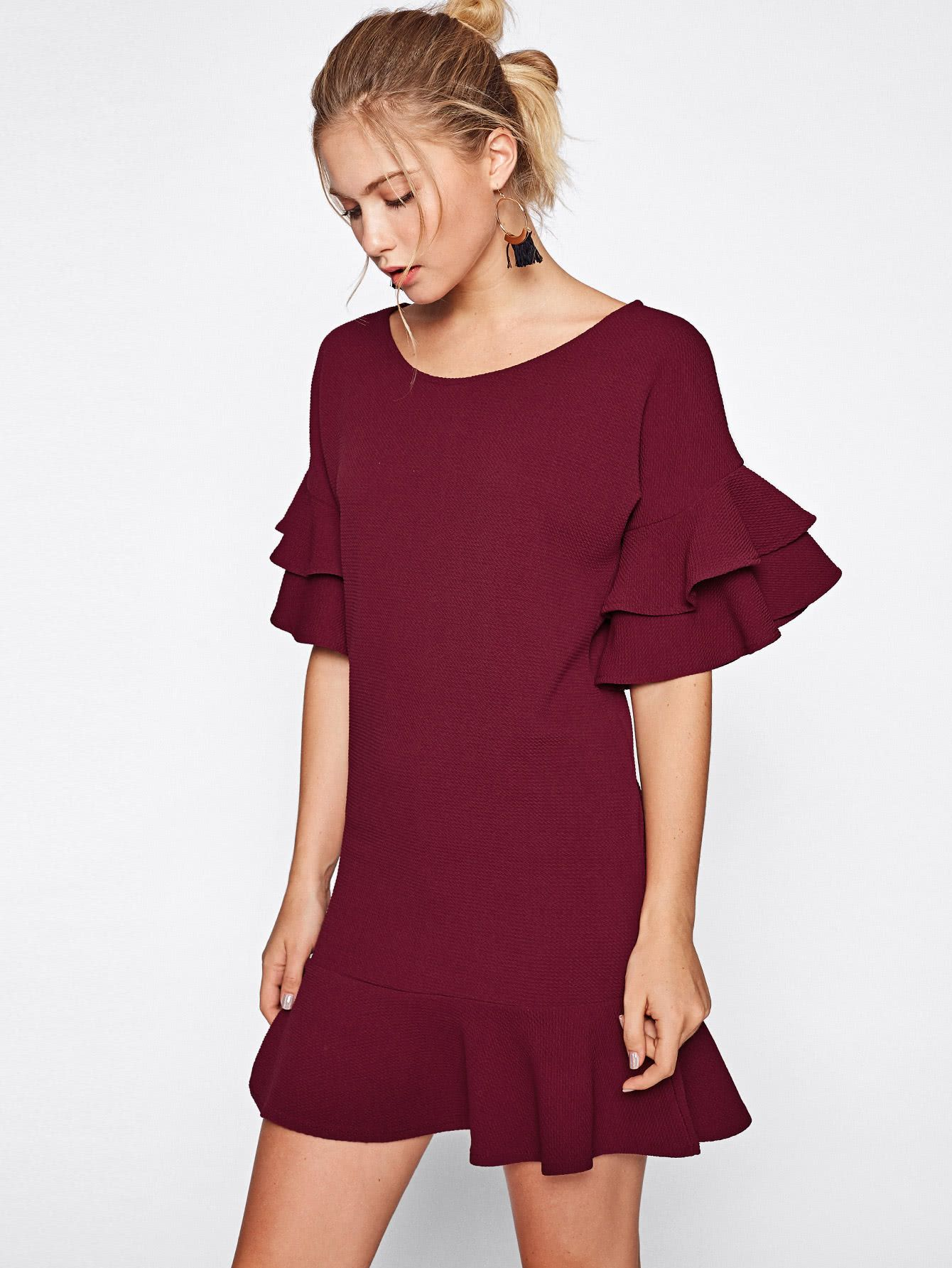 Shop Tiered Flute Sleeve Frill Hem Textured Dress Online Shein Offers Tiered Flute Sleeve Frill Hem Textured Dress Amp M Dresses Textured Dress Cool Outfits [ 1785 x 1340 Pixel ]
