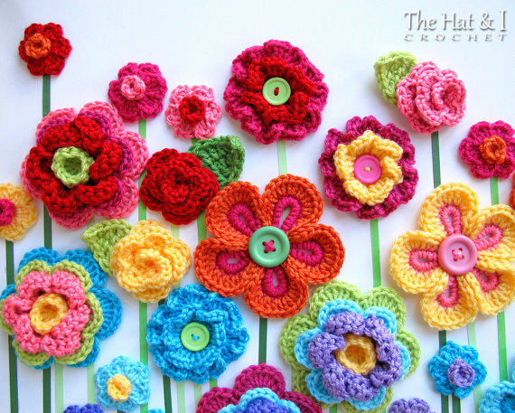 Crochet Pattern Floral Fantasy 5 Colorful Crochet Flower