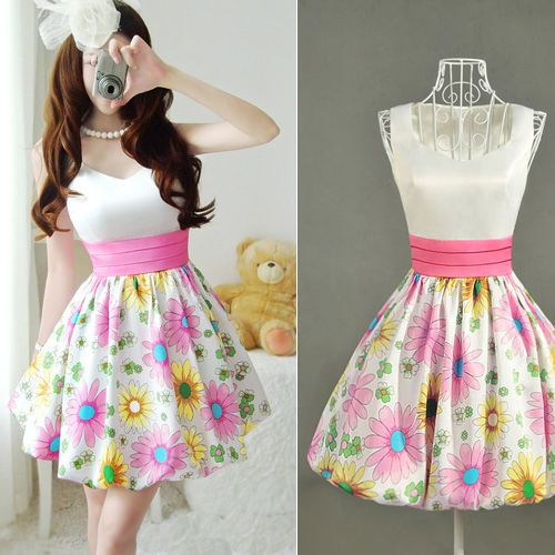 Ladys Retro White Tops Floral Skirts Satin Dress Sleeveless Party Dress Dresses