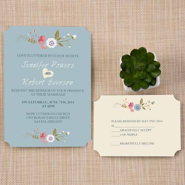 Cheap Dusty Blue Floral Bohemian Ticket Shape Wedding Invitation