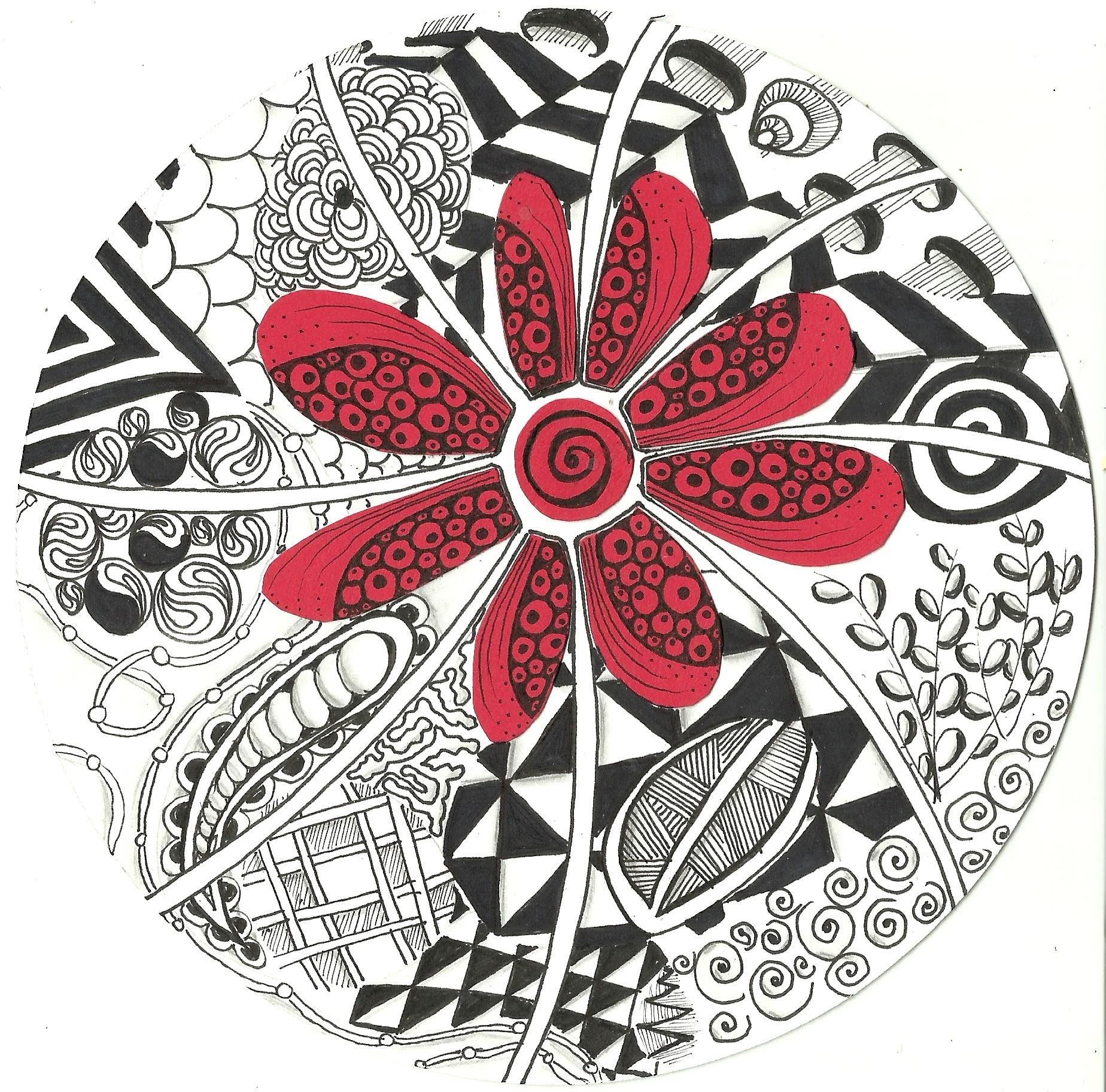Red Flower Zentangle | Zentangle y Mandalas | Pinterest | Doodles ...
