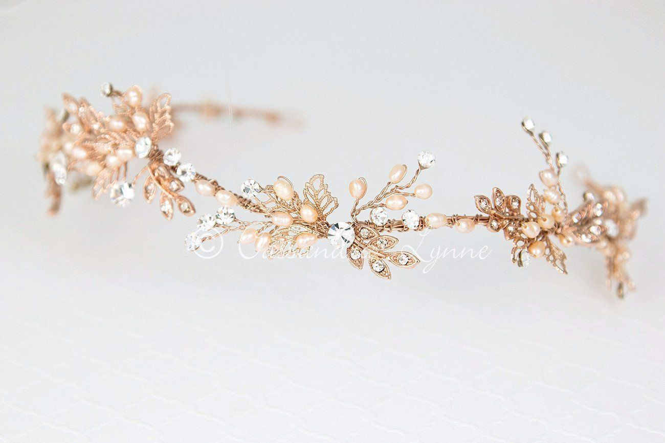 Rose gold filigree leaf and pearl bridal headband jewelry and wire