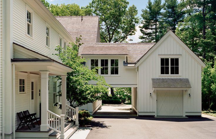 Garage With Second Story Bridge To Apartment Above House Exterior New England Farmhouse Architecture
