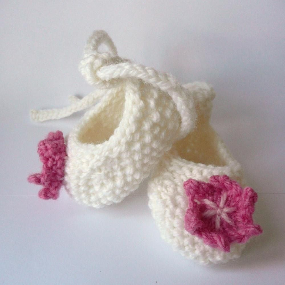Two styles of baby ballerina shoes- lacy and plain with a picot ...