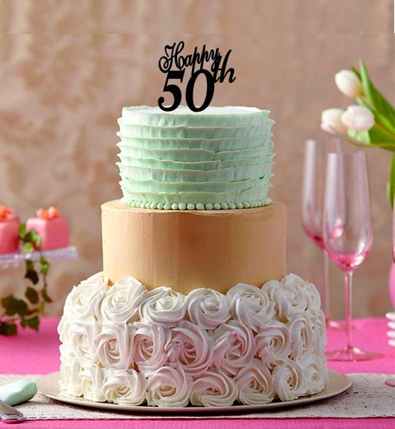 Happy 50 Th Cake Topper 50th Birthday Years Anniversay Custom Number C
