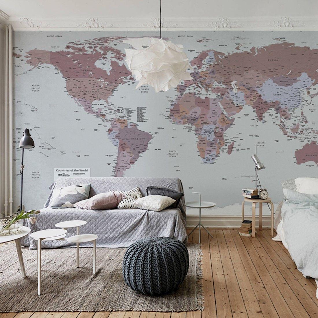 Mural De Parede Mapa Mundi Rosa Murais De Parede Papel De Parede Mapa Mundi Casa E Lar