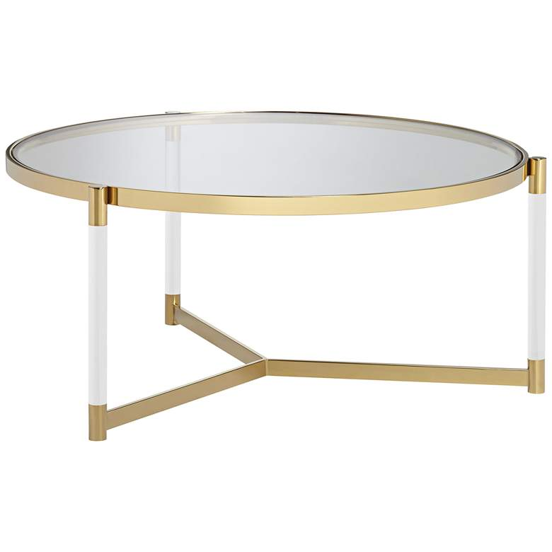 Stefania 36 Wide Gold And Acrylic Modern Coffee Table 55k04 Lamps Plus Coffee Table Square Coffee Table Metal Modern Coffee Tables