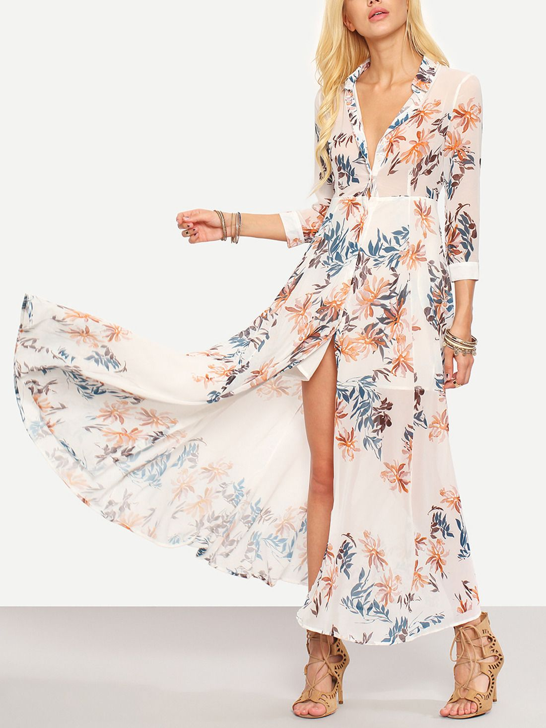 352f3e0aaa8 Shop Flower Print Chiffon Long Shirt Dress - White online. SheIn offers Flower  Print Chiffon Long Shirt Dress - White   more to fit your fashionable needs.