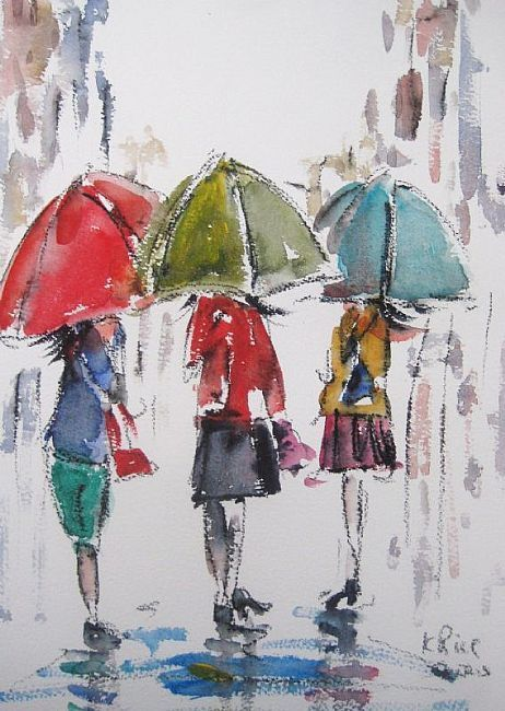 de0c2dd03 Three Ladies In The Rain | UNDER MY UMBRELLA in 2019 | Rain painting ...
