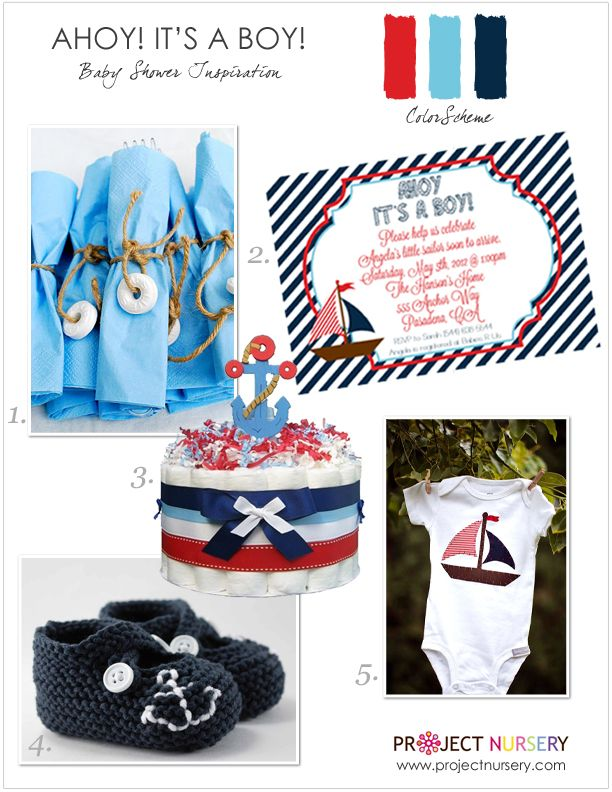 """""""Ahoy! It's a Boy!"""" Preppy Nautical Baby Shower Inspiration Board - perfect for a summer #babyshower! #nautical"""