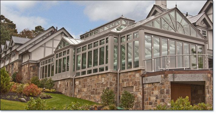 Glass Pool Enclosure With Triple Gable And Raised Lantern Roof Pool Houses Pool Enclosures Glass Pool
