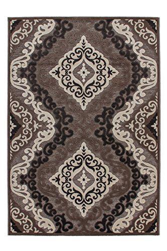 Lalee 347249268 Klasssischer Designer Teppich mit Lurex Garn, 3D - Teppich Wohnzimmer Braun